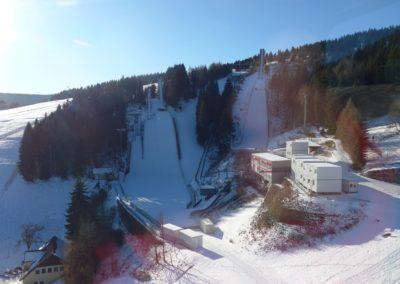 Blick auf die Schanzenanlage in Oberwiesenthal